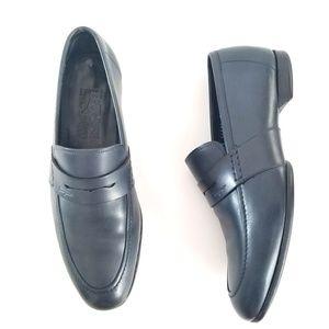 SALVATORE FERRAGAMO Penny Loafers Blue Leather